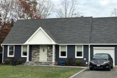 GAF 50 year roof in Pewter Gray and King Classic Siding in Indigo