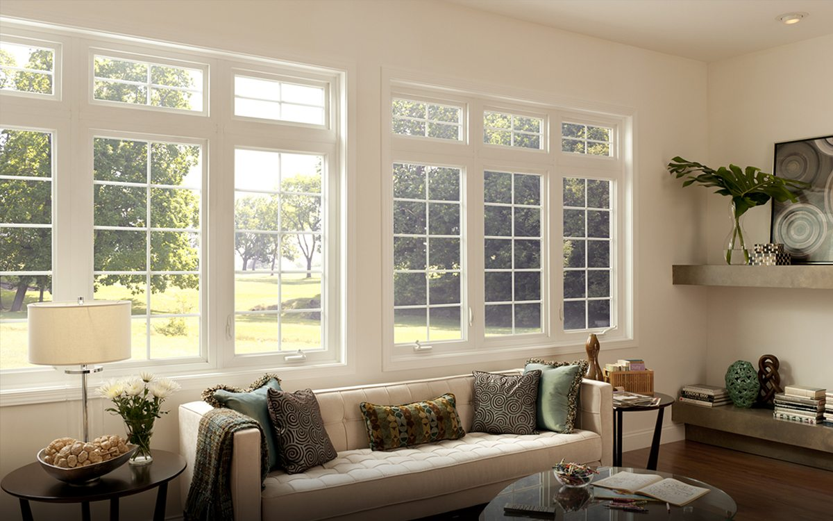 White Casement Window with Transom on Top