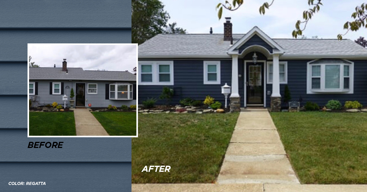 Before and after photo Regatta color siding