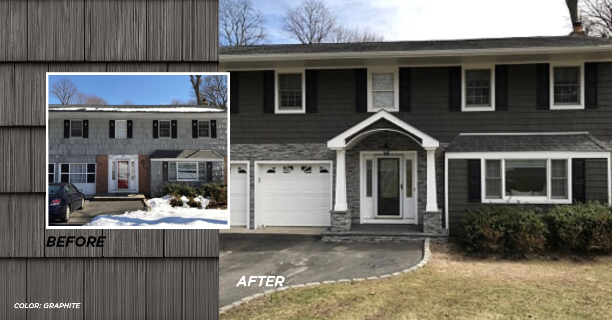 Before and after photo Graphite color siding