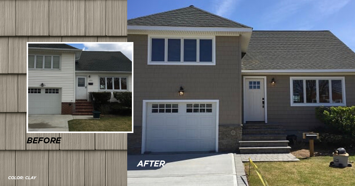 Before and after photo Clay color siding