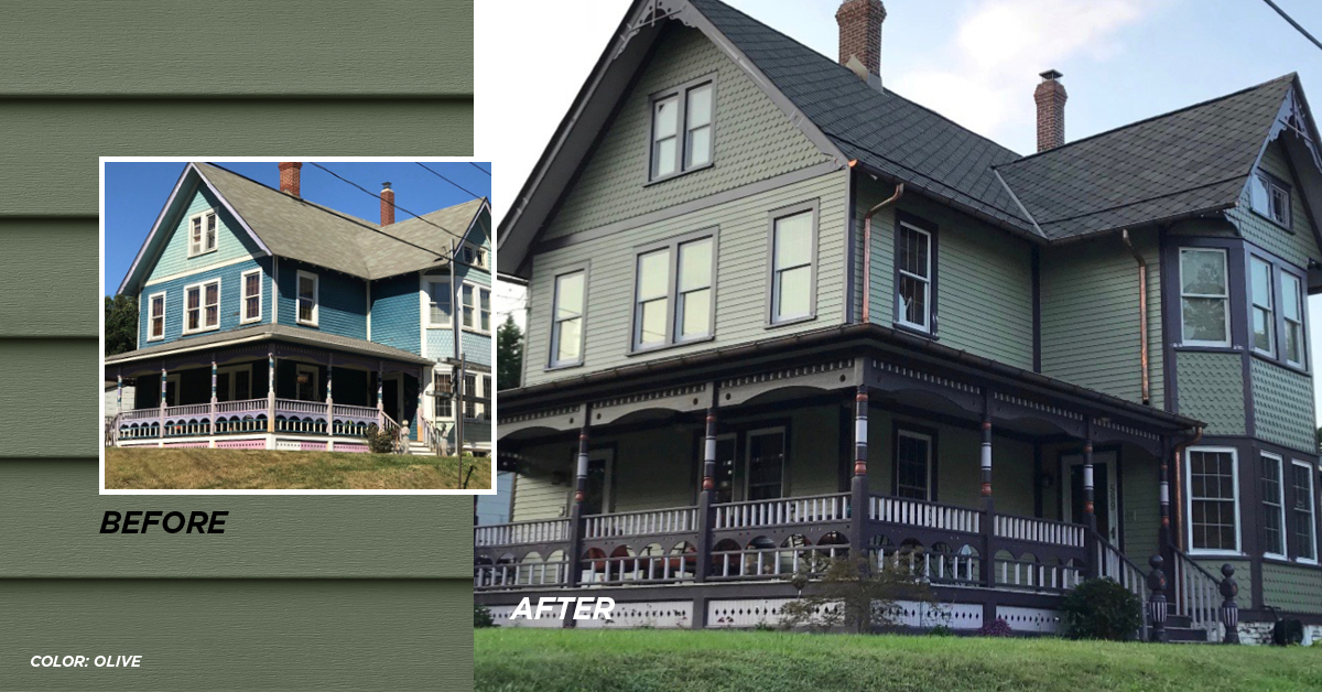 Before and after photo Olive color siding
