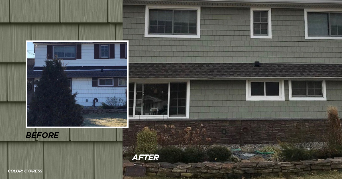 Before and after photo Cypress color siding