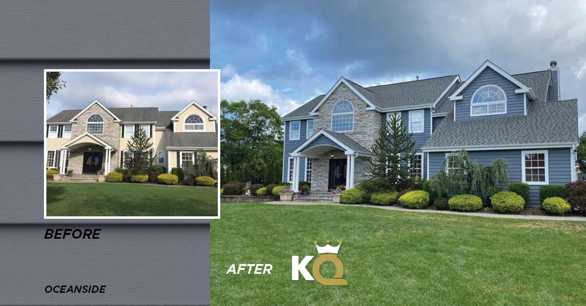Before and after photo Oceanside color siding