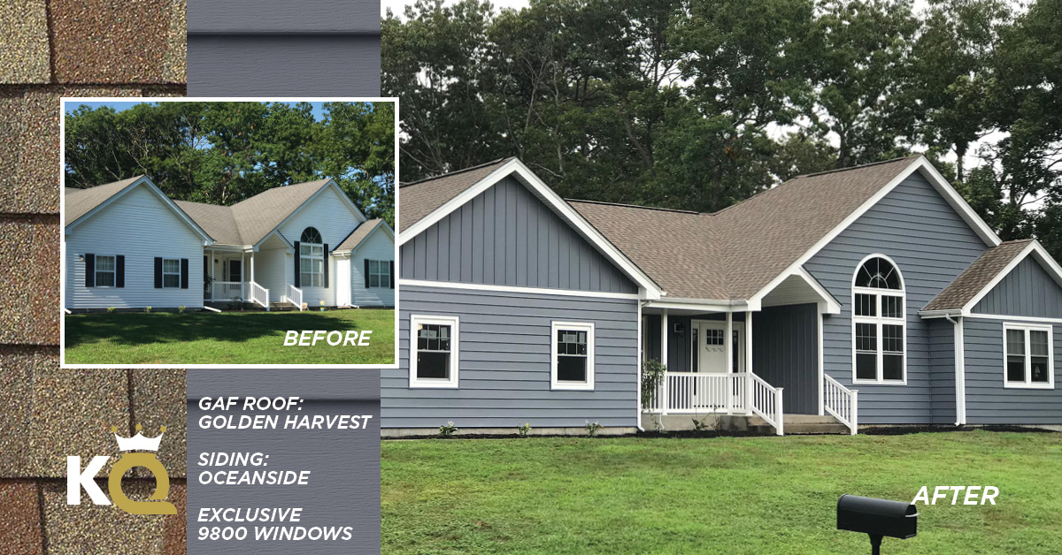 Before and after photo Oceanside color siding, Golden Harvest GAF Roof and Exclusive 9800 Windows