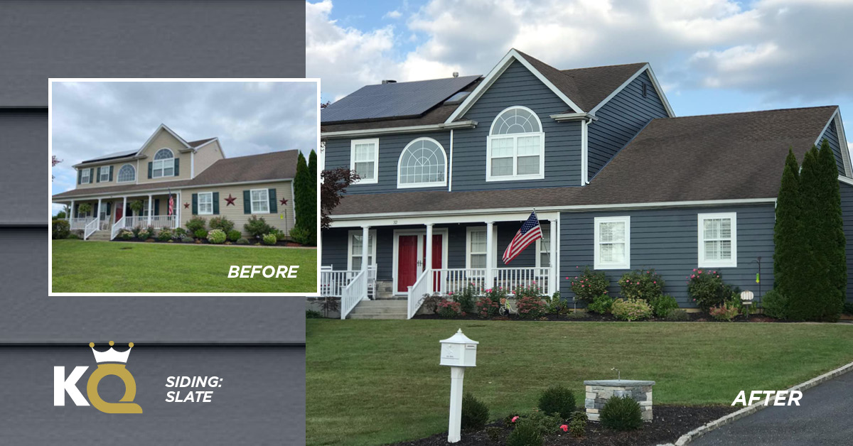 Before and after photo Slate color siding