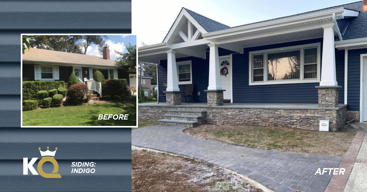 Before and after photo Indigo color siding