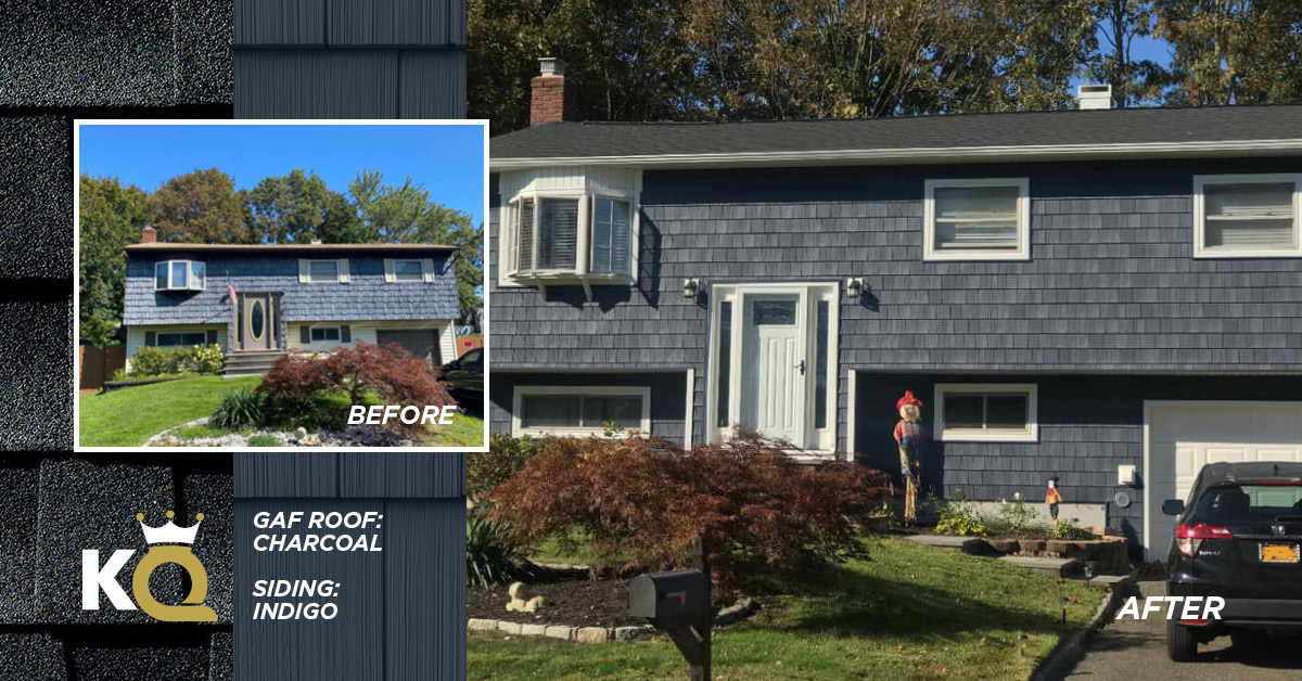 Before and after photo Indigo color siding and Charcoal GAF Roof
